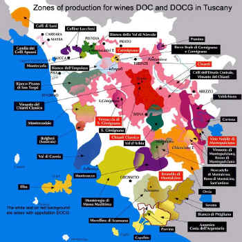 DOC and DOCG wines of Tuscany